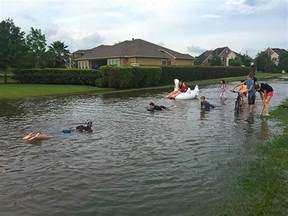 ... Flooding in and around Houston has killed at least five people and