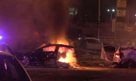 Tesla Model S Splits in Half and Catches Fire After 160km/h Police Chase - GTspirit