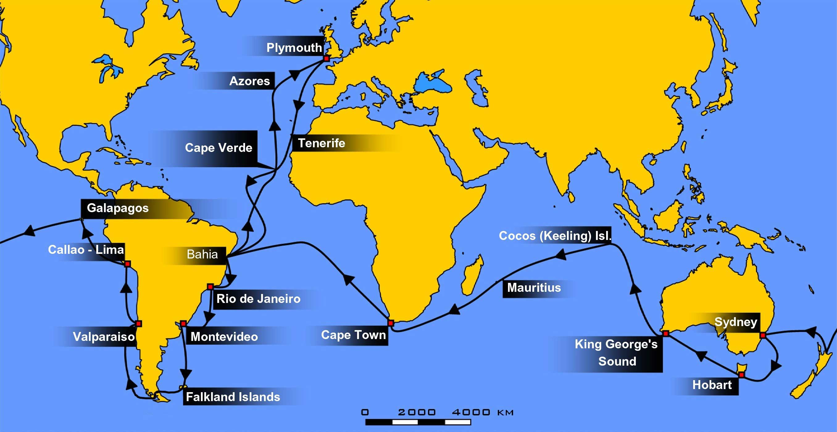 Stops along Charles Darwin's voyage of