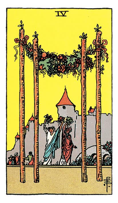 carte de Tarot du 4 de Bâtons du Rider-Waite