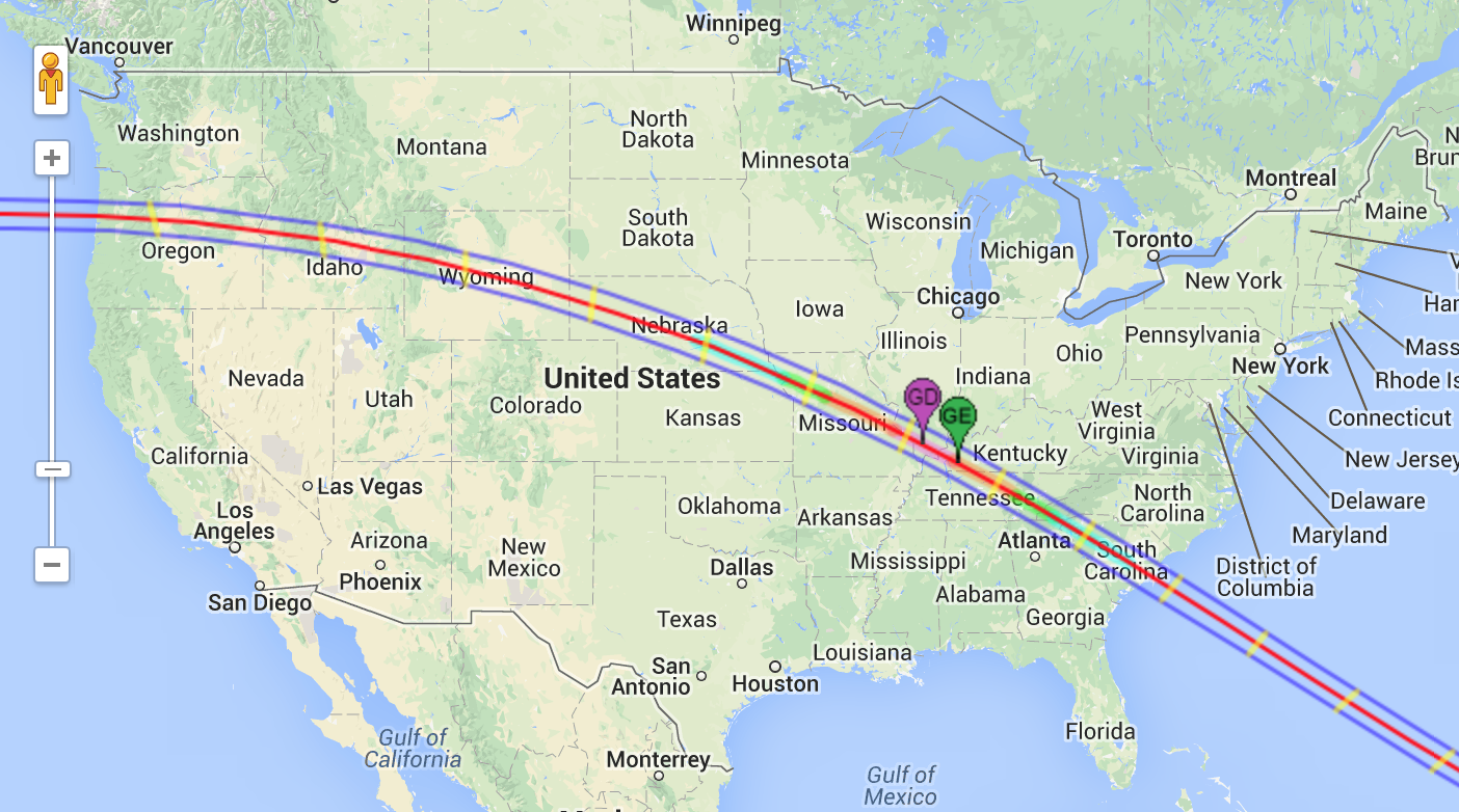 Track of the 21 Aug 2017 total solar eclipse across North America. The ...