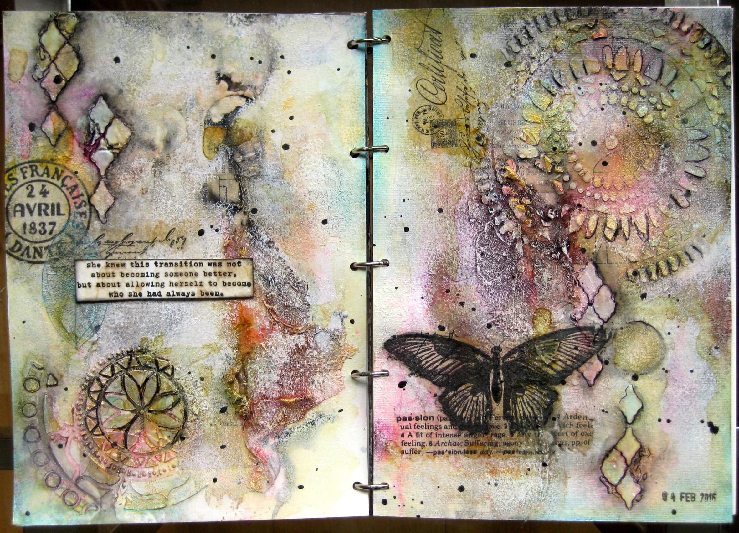 """Art journal spread """"Who She Had Always Been"""""""