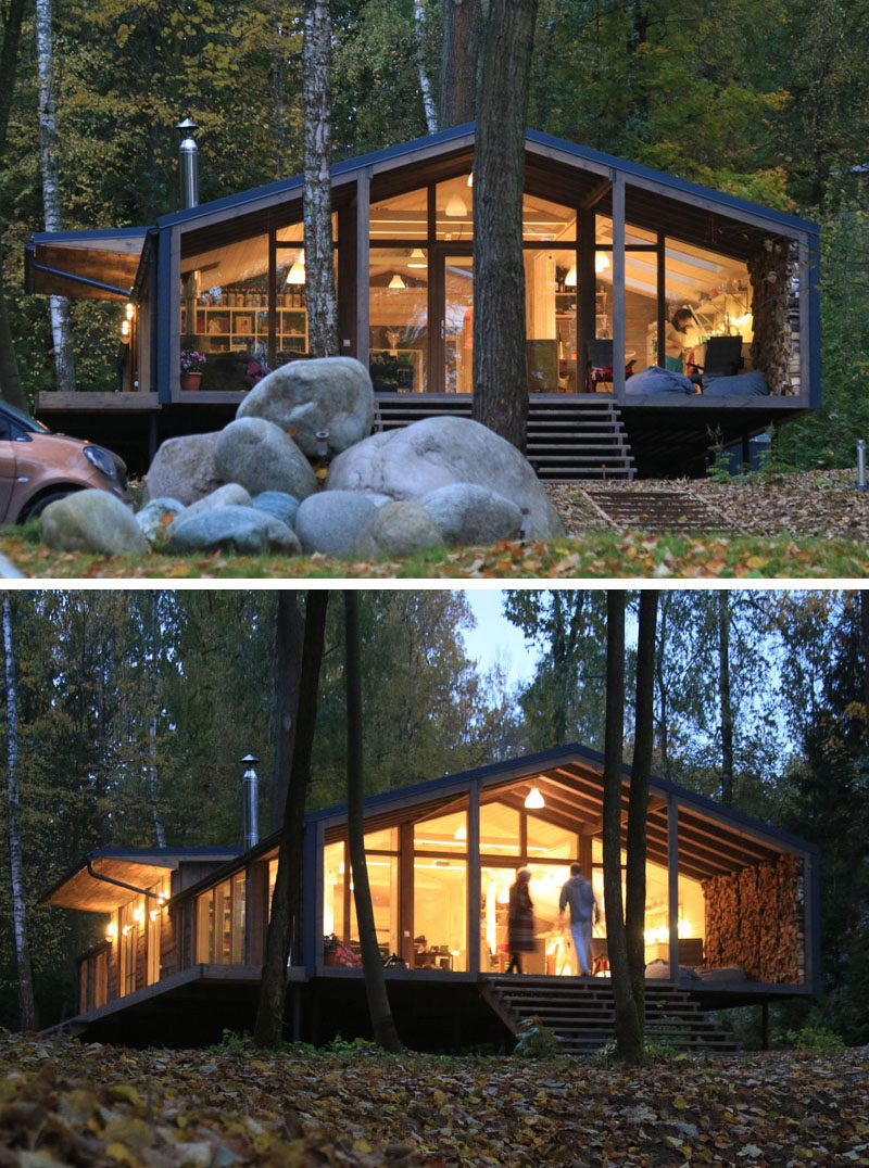 This Rustic Modern House In The Forest Was Designed For A ...
