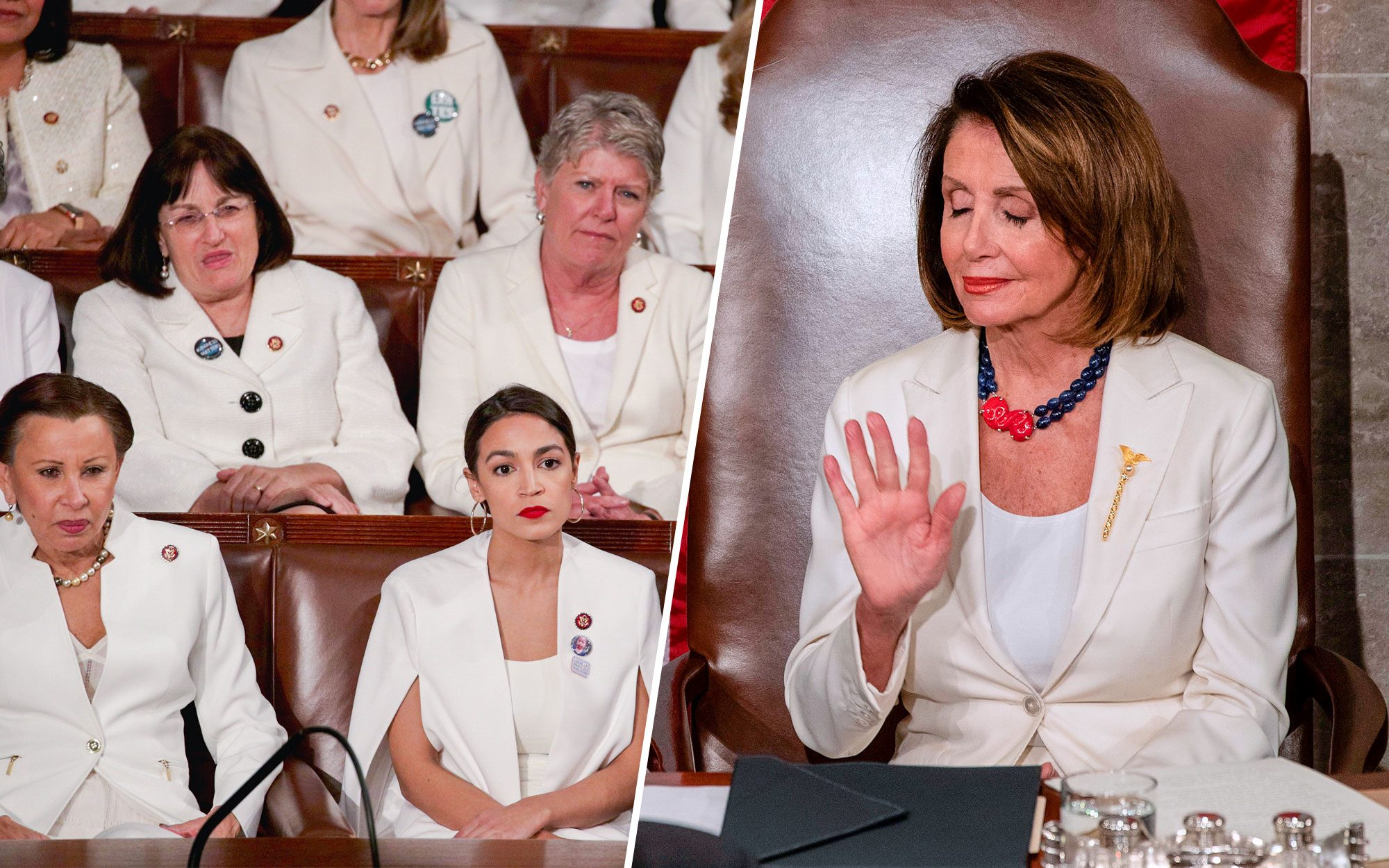 Pelosi and 'White Pant Suit Crew' Take Heat for Sitting Stone-Faced Through Much of Trump's SOTU