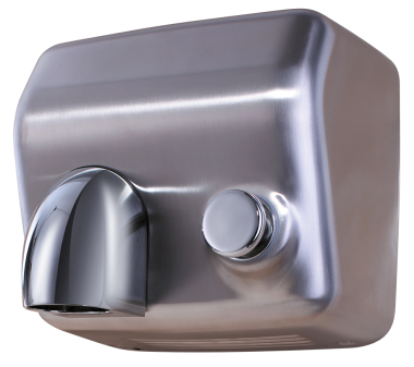Stainless push-button operated hand dryer with nozzle | Washing dishes, ins, shelves, shelves up ...