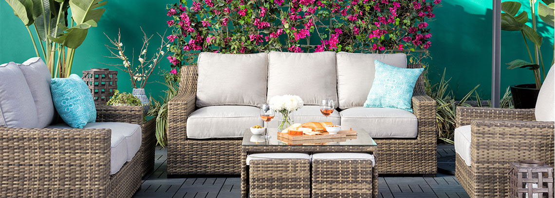 living accents outdoor furniture set with food and landscaping