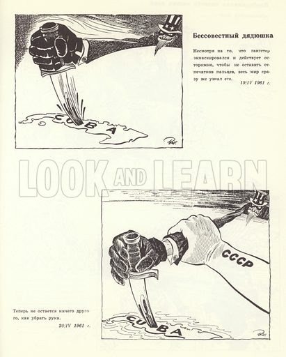 Cartoon portraying the Soviet Union making a firm response ...