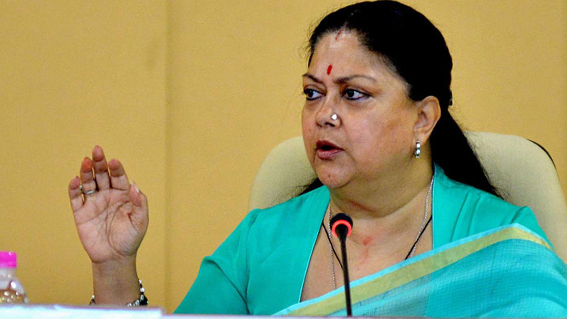 Vasundhara Raje Says Media is Trying to Malign Rajasthan ...