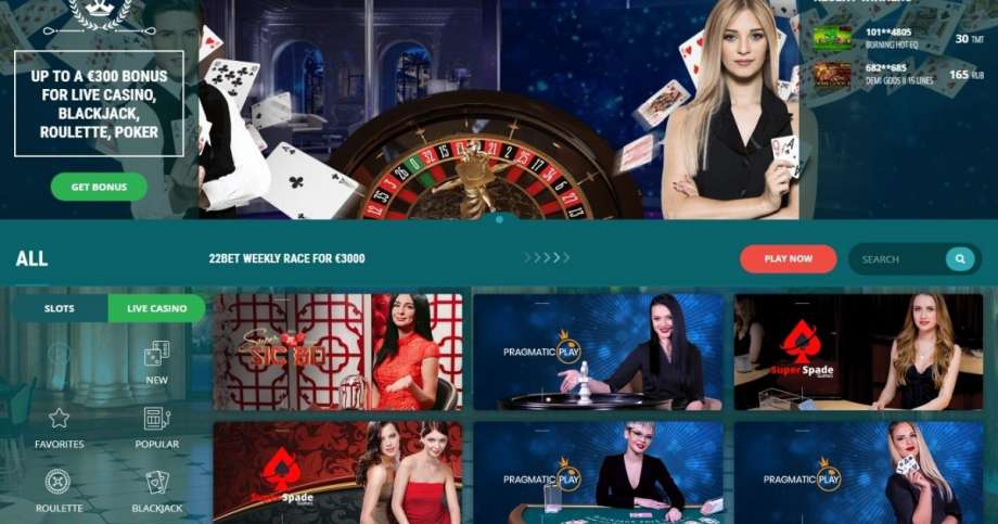Caça-níqueis, apostas desportivas e casino ao vivo na 22Bet.pt Portugal