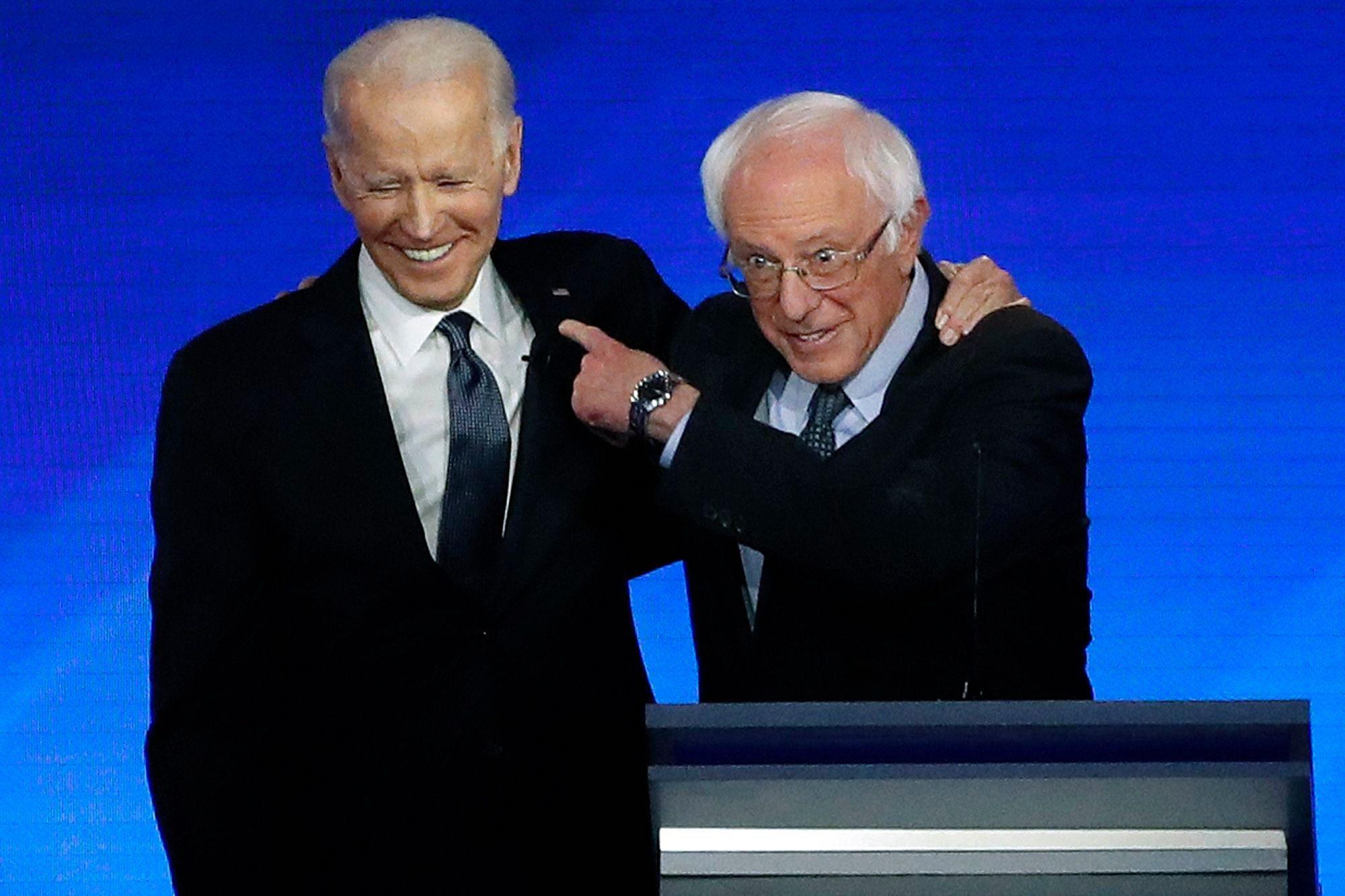 Joe Biden Hugs Bernie Sanders at Debate After Hearing ...