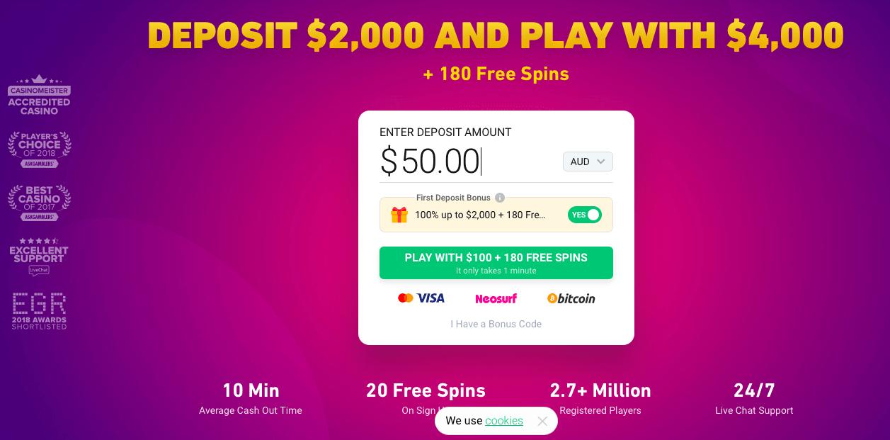 The greater the deposit amount - the bigger bonus from Bitstars casino