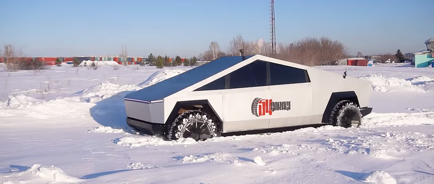 Tesla Cybertruck clone takes on heavy Siberian snow in off ...