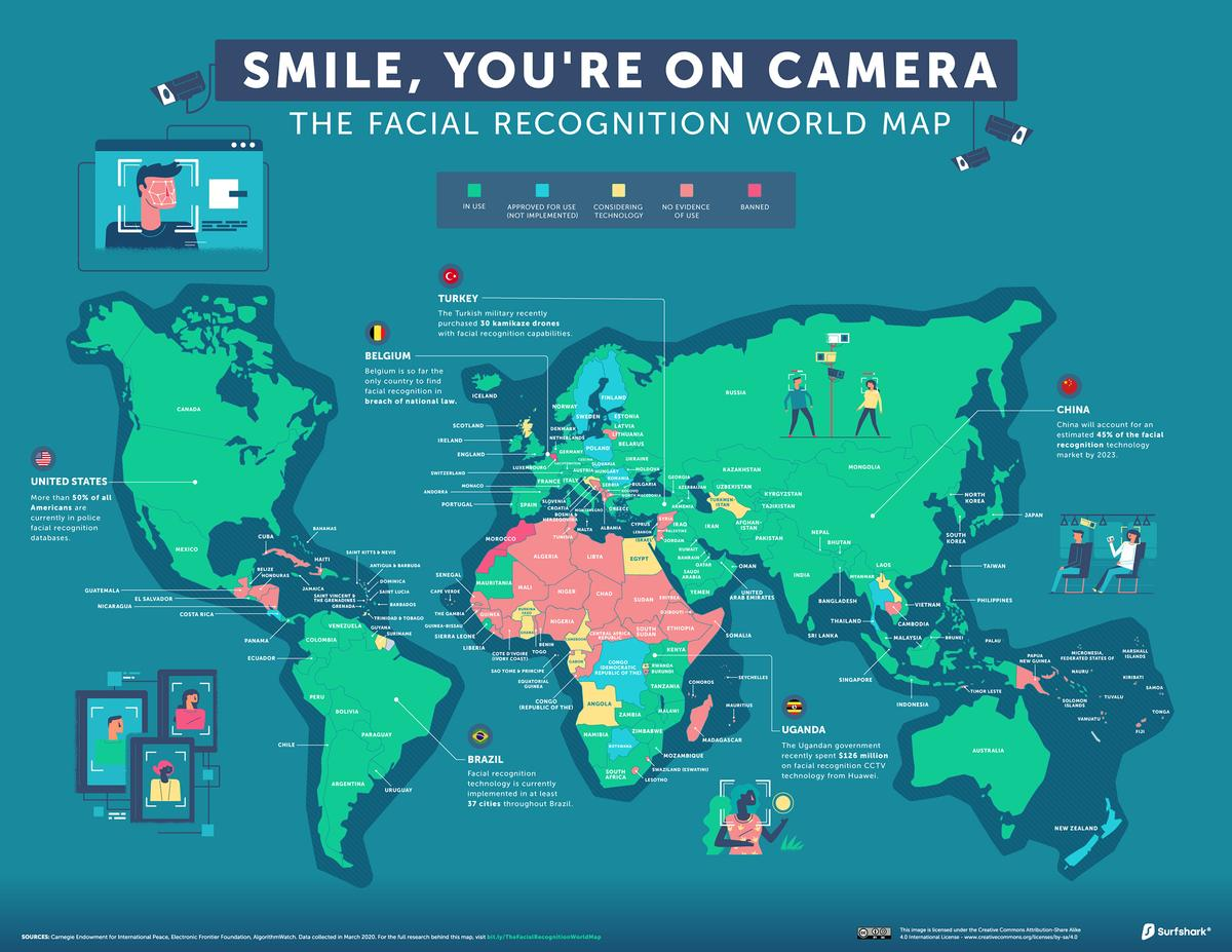 See The Facial Recognition World Map…