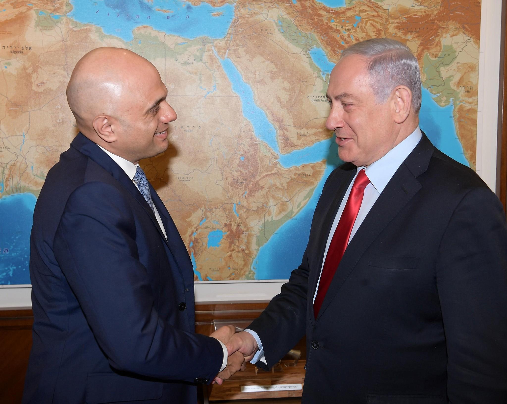 PM-Netanyahu-UK-Home-Secretary-Sajid-Jav