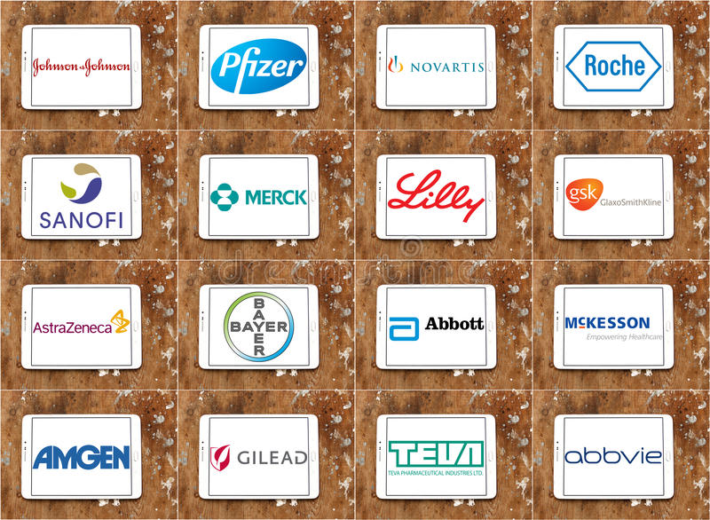 Top Pharmaceutical Companies Logos And Brands Editorial ...