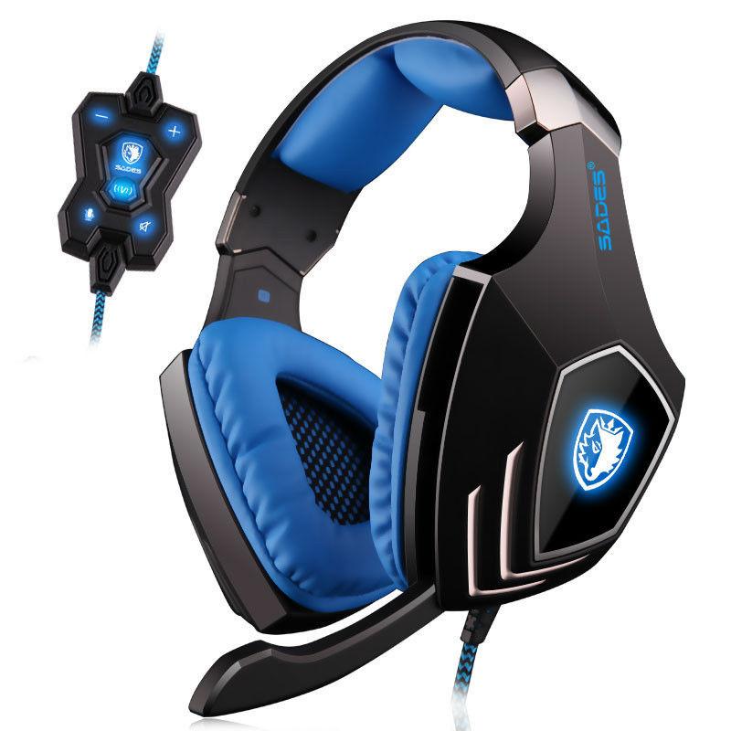 SADES A60 7.1 Surround Sound Pro Gaming Headset Gamer Vibration Function Super Bass Headphones ...